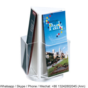 Three Sides Rotating Acrylic Magazine and Newspaper Standing Display Rack/Brochure Holder pictures & photos