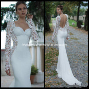 Long Sleeves White Venice Lace Chiffon Sheath Wedding Dress H14654 pictures & photos