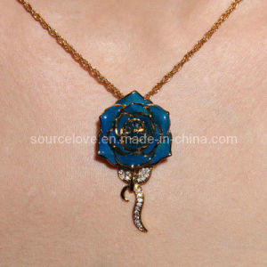 Gift-24k Gold Rose Necklace for Christmas Day