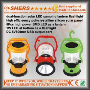 8 SMD LED Solar Light for Camping with 1W Flashlight (SH-1972B) pictures & photos