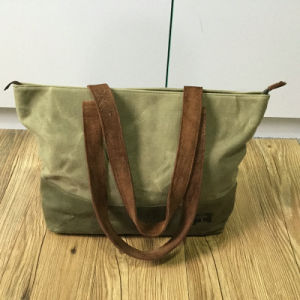 Vintage Simple Waxed Canvas Leather Tote Bag for Ladies pictures & photos