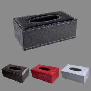 Black /Brown / Red / White Crocodile Leather Tissue Paper Boxes pictures & photos