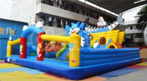 Blue Cat Bouncy Inflatable Funcity with Slide Chob153 pictures & photos