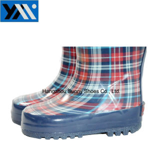 New Style Printing Kids Wellington Rain Boots with Handle pictures & photos