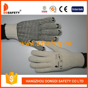 Ddsafety 2017 Natural Cotton/Polyester 10 Gauge Palm Single Black PVC Dots pictures & photos