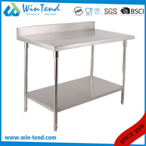 Industrial Stainless Steel Wire Adjustable Round Tube 2 Layers Board Hotel Buffet Work Table with EVA Sticker pictures & photos