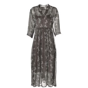 Apparel for Gray Floral Pattern A-Line Pleated Women Dress pictures & photos