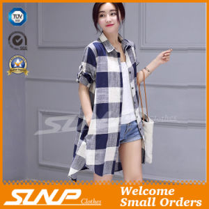Women Fashion Linen Cotton Half Sleeve Shirt Apparel