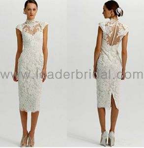 Lace Formal Gowns Choker Cap Sleeve Bridal Wedding Dress (C141018) pictures & photos