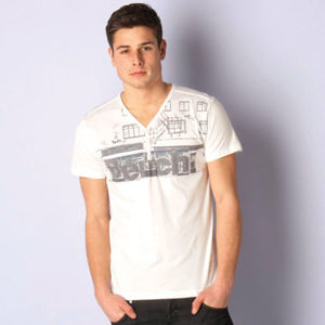 Men V Neck Cotton T-Shirt (MT000020) pictures & photos