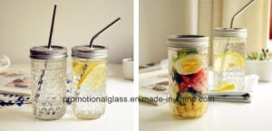 12oz Crystal Belly Jar, Straight Mason Jar with Metal Lid and Straw pictures & photos