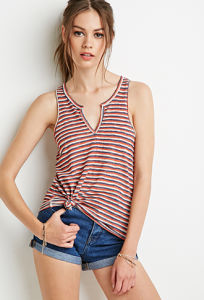Summer Fashion Women Striped Split-Neck Top pictures & photos