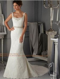 Lace Crystal Strap Bridal Wedding Dresses (WD5273) pictures & photos