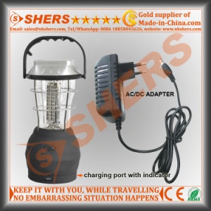Portable Solar Powered 60 LED Camping Lantern 2 Lighting Modes USB Outlet Swing Handle Hanging Hook pictures & photos