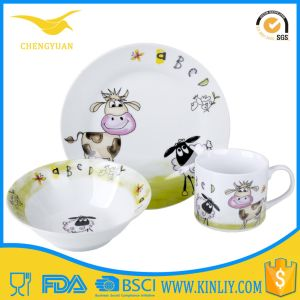 Cute Kid Ceramic Custom Dinnerware Dinner Set of 3 Pieces pictures & photos
