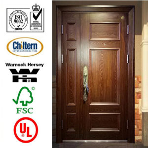 Solid Timber Door/Villa Door/Double Sashed Wooden Door with Glass Solid Wood Door