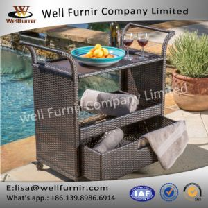 Well Furnir T-097 for Entertaining Outdoor Brown Wicker Bar Cart pictures & photos