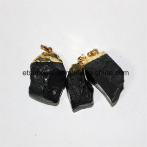 Semi Precious Stone Natural Crystal Black Obidian Gold Plating Pendant pictures & photos