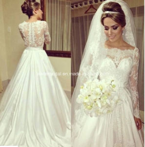 Boat Neck Ball Gowns Lace Long Sleeve Wedding Dresses Z8014 pictures & photos