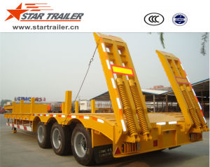 3 Axles Low Bed Semi-Trailer for Heavy Equipment pictures & photos
