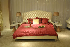 White Genuine Leather Bedroom Furniture Leather Bed pictures & photos