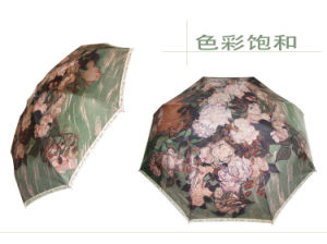 Beautiful Flowers Digital Polyester Printed Umbrella pictures & photos