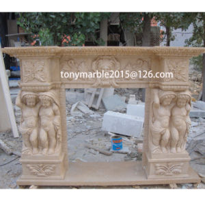 Surface Child Carved Beige Marble Fireplace (SY-MF012) pictures & photos