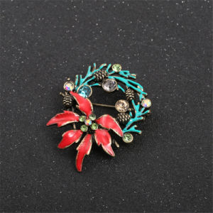 New Style Beautiful Red Blue Enamel Christmas Tree Surround Inlay More Color Semi-Precious Stones Girl Texture Brooch Corsage pictures & photos