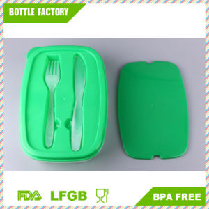 Two-Compartment Bento Lunch Box with Fork and Knife Nested Utensils - Stacking Reusable Design - Microwave Safe, Dishwasher Safe pictures & photos