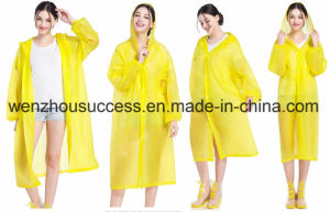 Waterproof 100% Polyester PVC Coating Reusable/Foldable Rain Poncho pictures & photos
