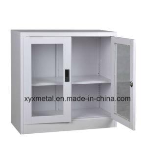 2 Doors Glass Short Ark Metal Steel Cabinet pictures & photos