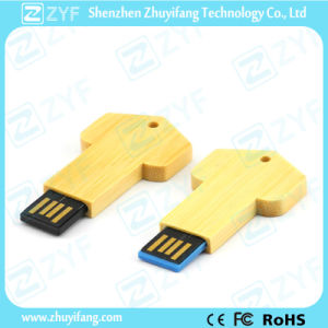 UDP Chip Key Shape Bamboo USB Pen Drive (ZYF1344)