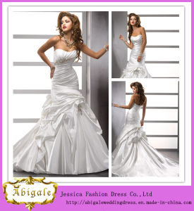 Charming Popular Mermaid Ivory Sweetheart Lace Back Crystals Taffeta Wedding Dress (MN1076)