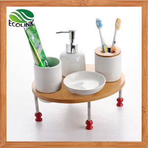 Bath Fittings 4PCS Bathroom Set with Bamboo Stand pictures & photos