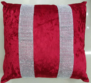 Hand-Made Decorative Cushion Hand-Sewing Diamond-Tape Pillow (XPL-20) pictures & photos