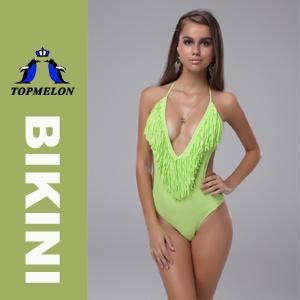 Topmelon Women′s Tassel Deep V One Piece Bikini Set Swimsuit Swimwear (T91) Green