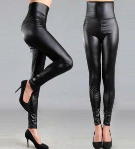 High Waist Black Leather Leggings for Women, Black Faux Leather Pants, Leggings