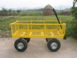 Green Handle Pull Along Four Wheels Tool Cart pictures & photos