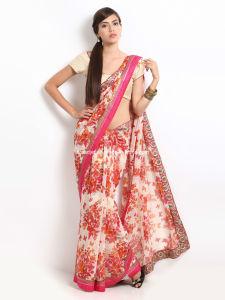 2014 Latest Chiffon Embroidered Saree