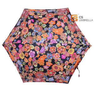 Super Light Colorful Flower 5 Folding Umbrella with Case (YSF5006B) pictures & photos