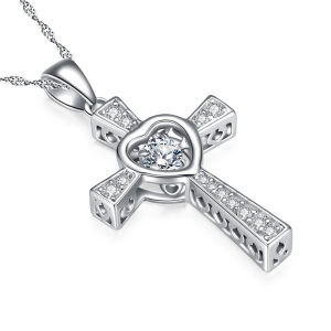 925 Silver Cross Pendants Necklace with Dancing Diamond Jewelry pictures & photos