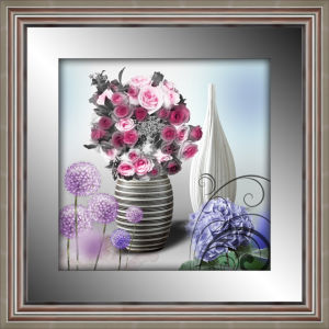 High Quality 3D Flower Framed Painting with Mirror Border Silver Frame for Home Decoration