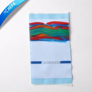 Hot Sale Mitre Folding Woven Badge Label pictures & photos