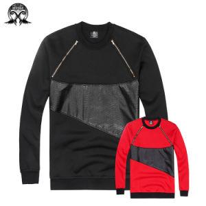 Patch Leather Chest Zipper Sweatshirt pictures & photos