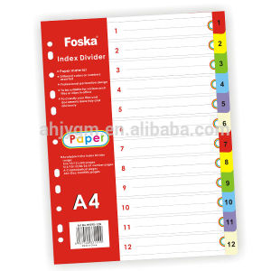 A4 Numberic Color Paper File Divider/Paper Tab Divider pictures & photos