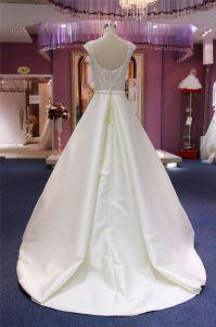 High Quality Custom Made Ball Beading Satin Wedding Dress pictures & photos