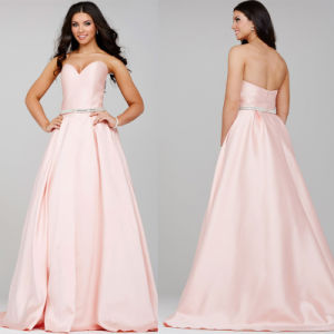 Beading Celebrity Party Gowns Pink Satin Evening Dresses C2771 pictures & photos