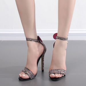 Women′s Sandal Elegant Style High Heels Hollow Sandals with Buckle Size 35-40 pictures & photos