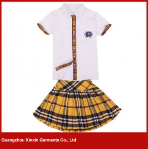 OEM Custom Cotton School Uniform Shirts and Skirts for Students Girls (U1) pictures & photos