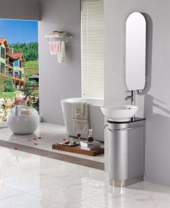 Silver Grey MDF Floor Mounted Bathroom Cabinet with Ceramic Basin pictures & photos